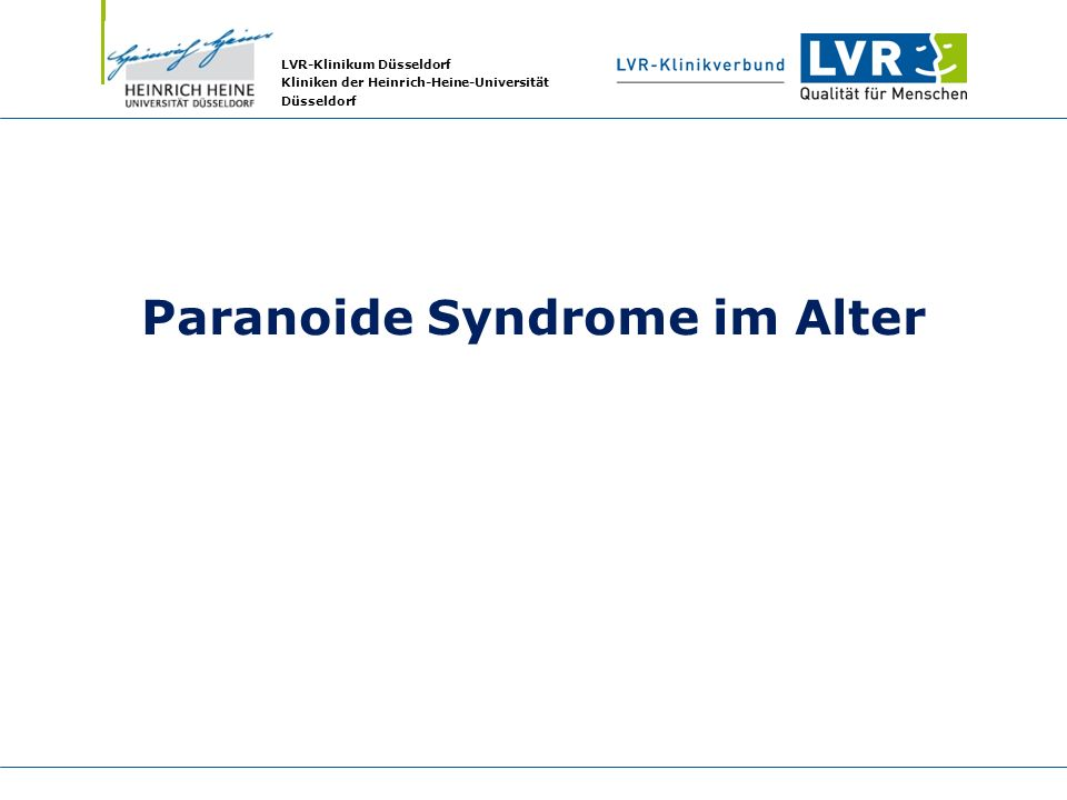 Paranoide Syndrome im Alter