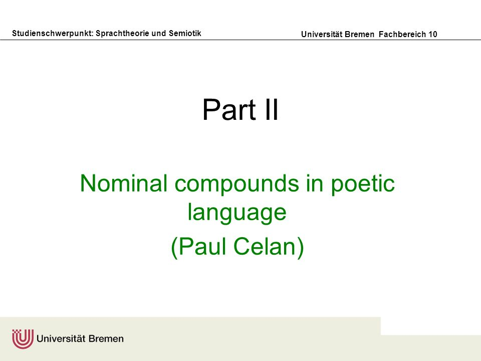 Nominal compounds in poetic language (Paul Celan)