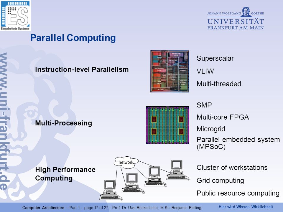 Parallel Computing Superscalar VLIW Instruction-level Parallelism
