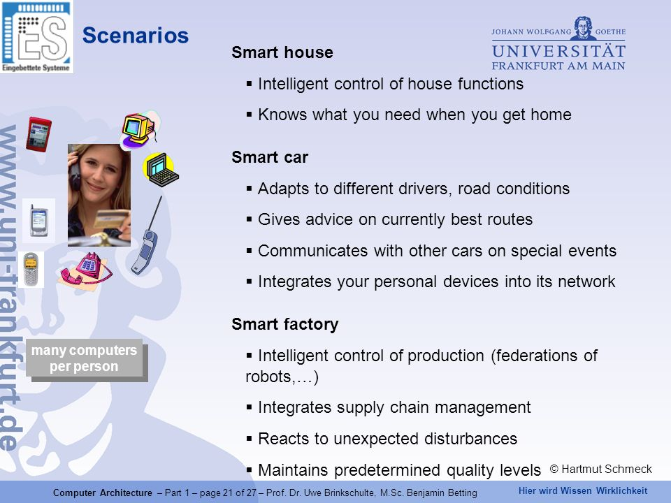 Scenarios Smart house Intelligent control of house functions