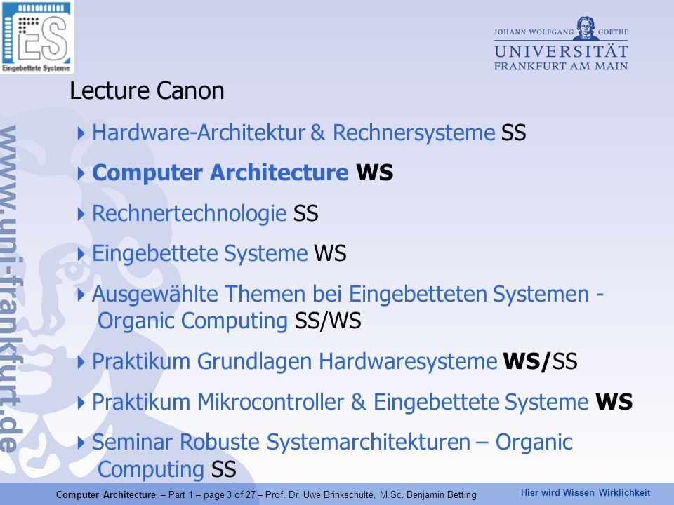 Lecture Canon Hardware-Architektur & Rechnersysteme SS