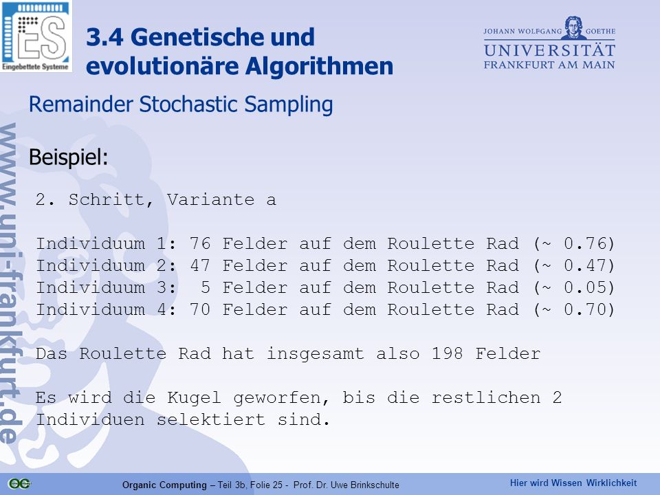 Remainder Stochastic Sampling Beispiel: