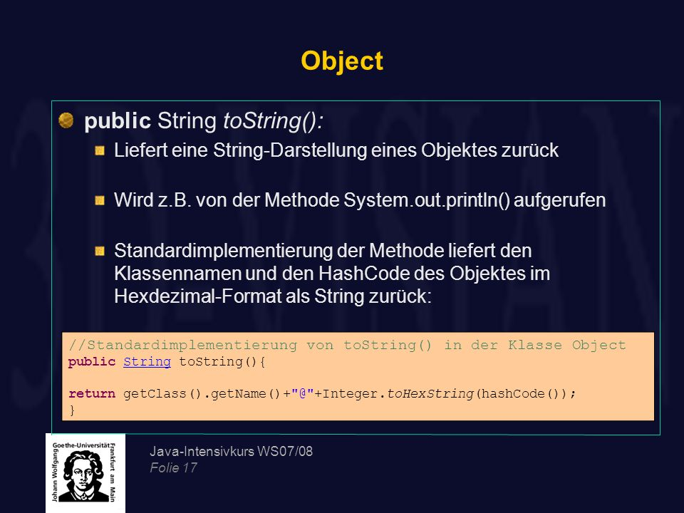 Object public String toString():
