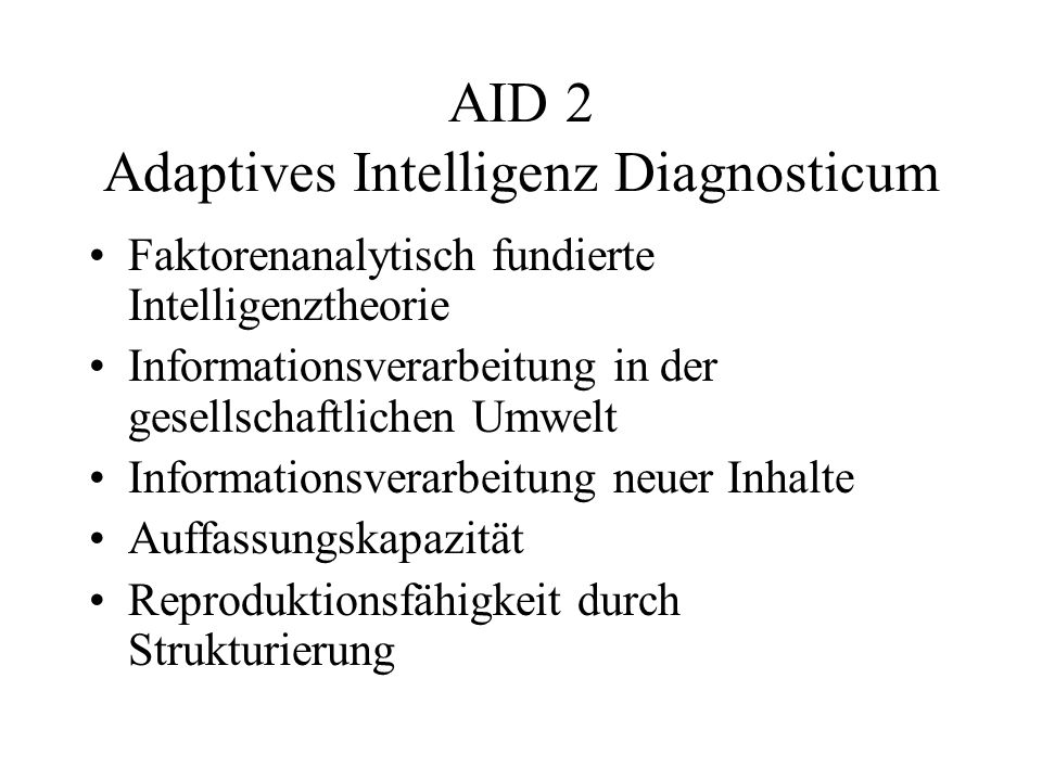 AID 2 Adaptives Intelligenz Diagnosticum