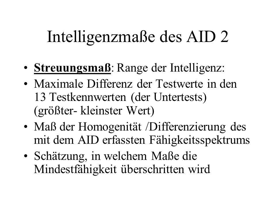 Intelligenzmaße des AID 2