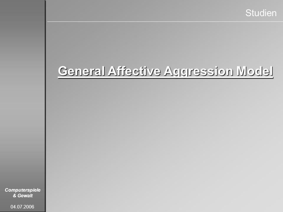 General Affective Aggression Model