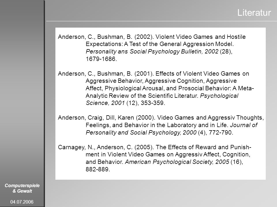 Literatur Anderson, C., Bushman, B. (2002). Violent Video Games and Hostile. Expectations: A Test of the General Aggression Model.
