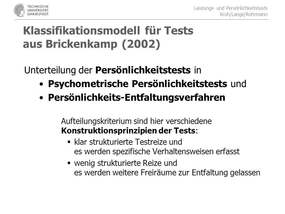 Klassifikationsmodell für Tests aus Brickenkamp (2002)