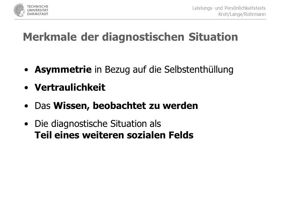 Merkmale der diagnostischen Situation
