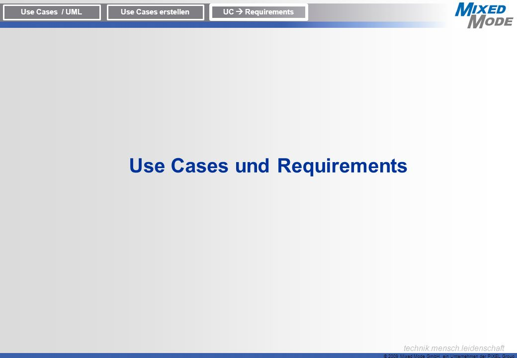 Use Cases und Requirements