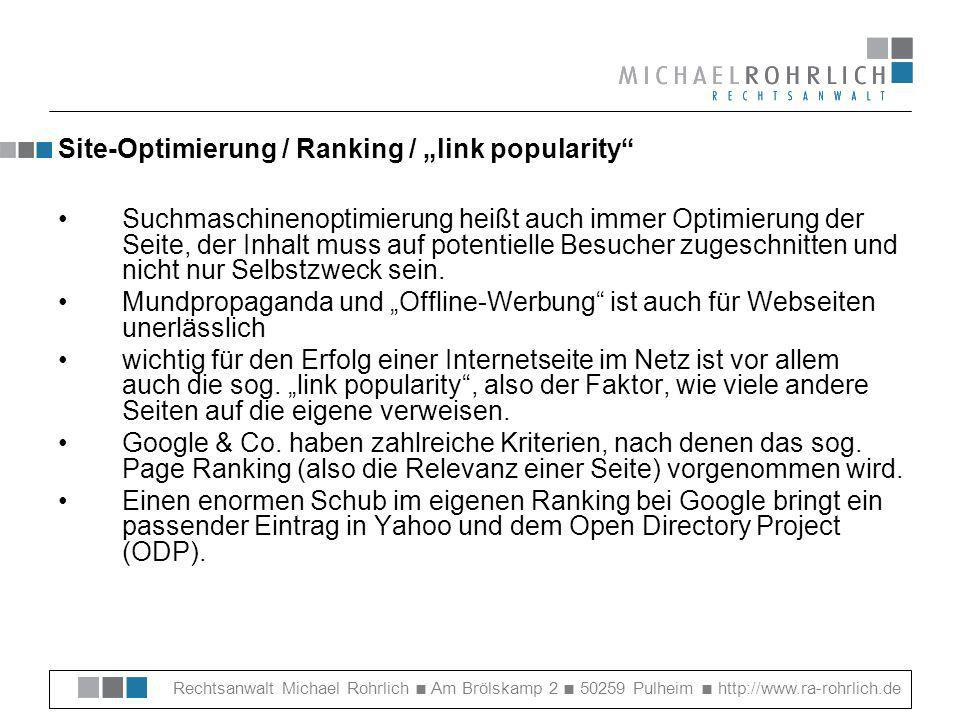 "Site-Optimierung / Ranking / ""link popularity"