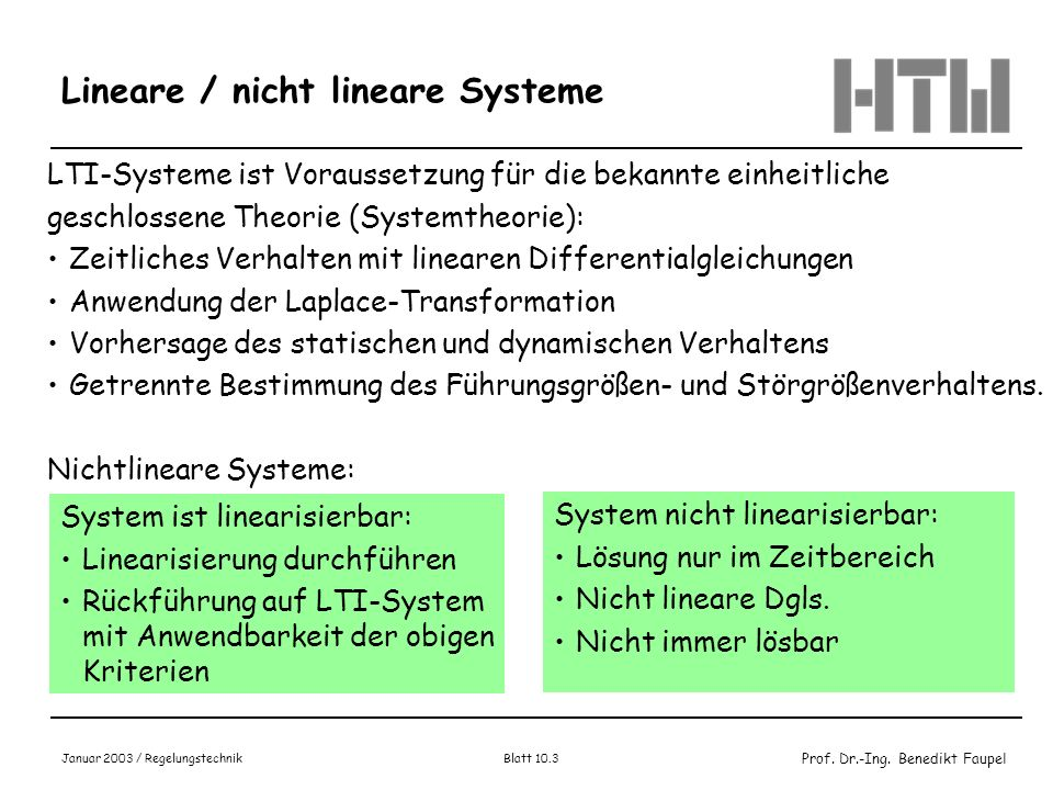 Lineare / nicht lineare Systeme