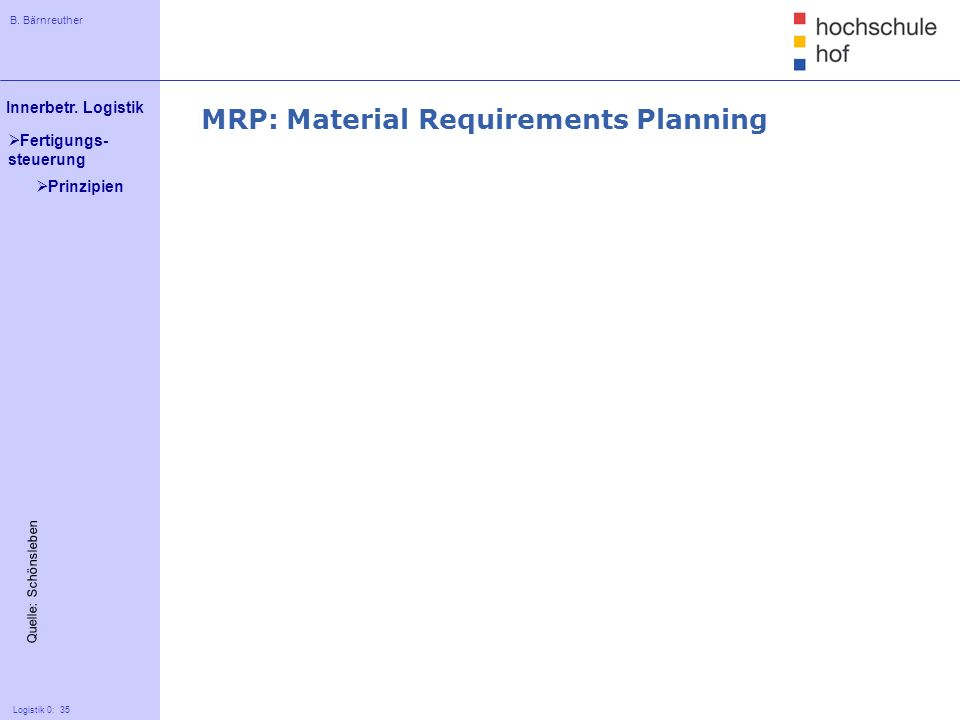 MRP: Material Requirements Planning