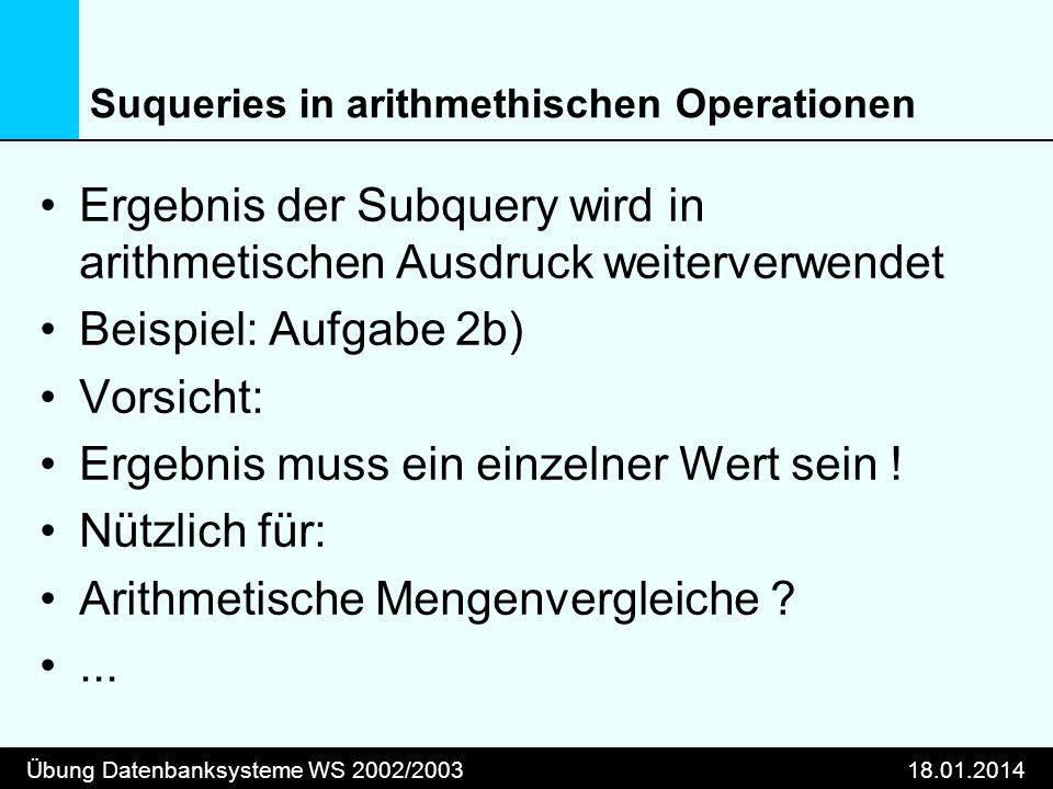 Suqueries in arithmethischen Operationen