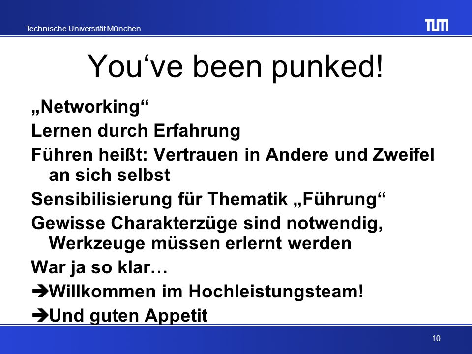 "You've been punked! ""Networking Lernen durch Erfahrung"