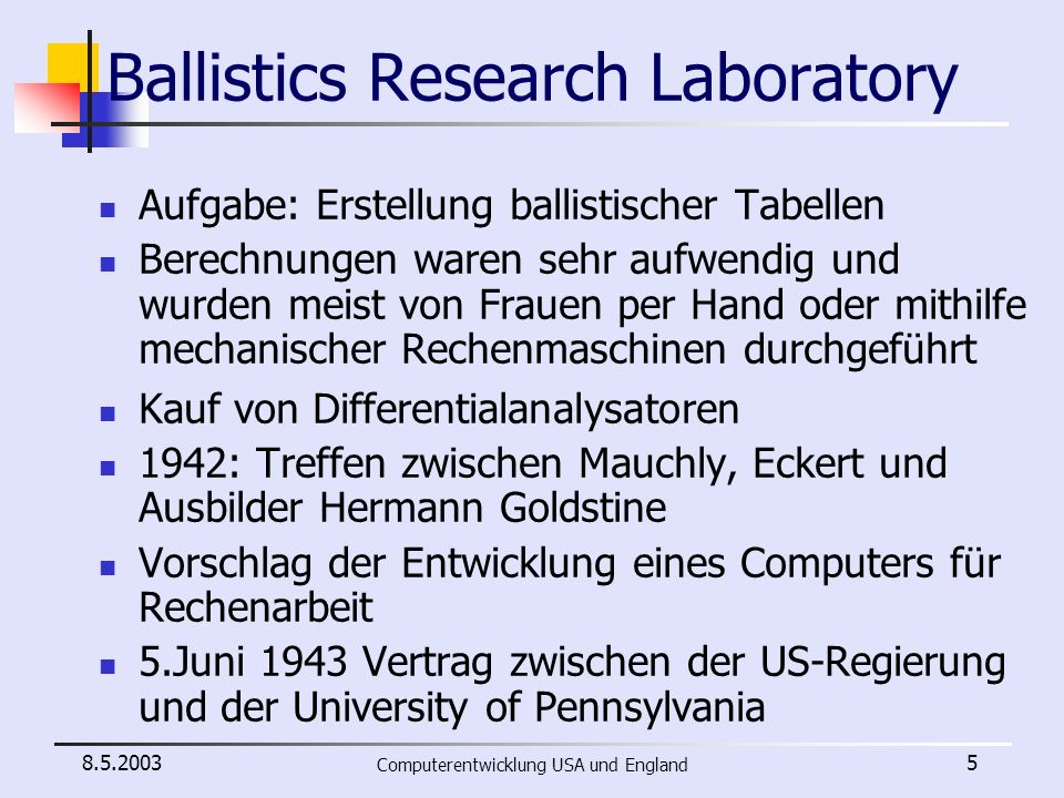 Ballistics Research Laboratory