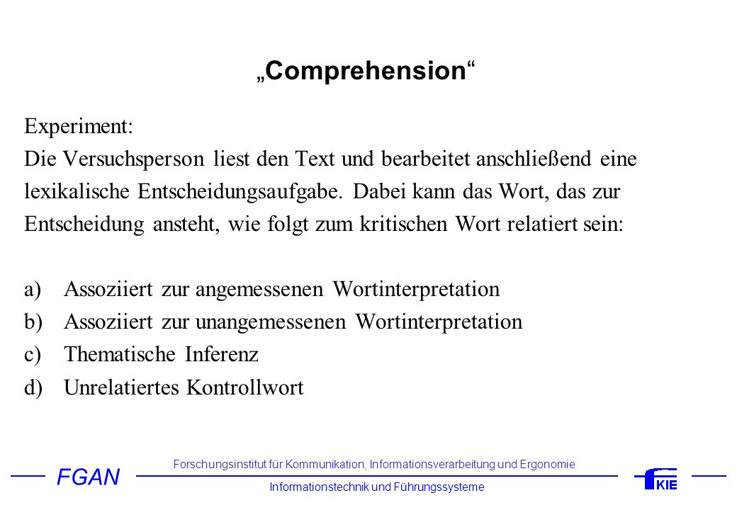 """Comprehension Experiment:"