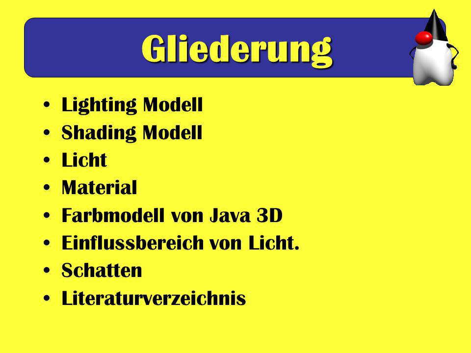 Gliederung Lighting Modell Shading Modell Licht Material