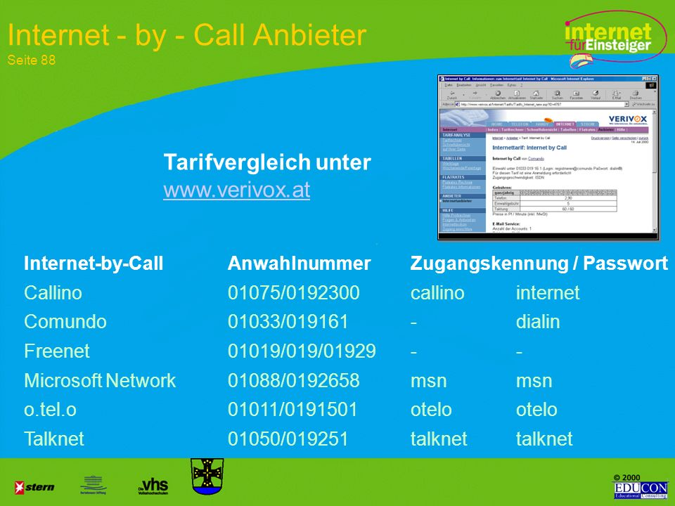 Internet - by - Call Anbieter Seite 88