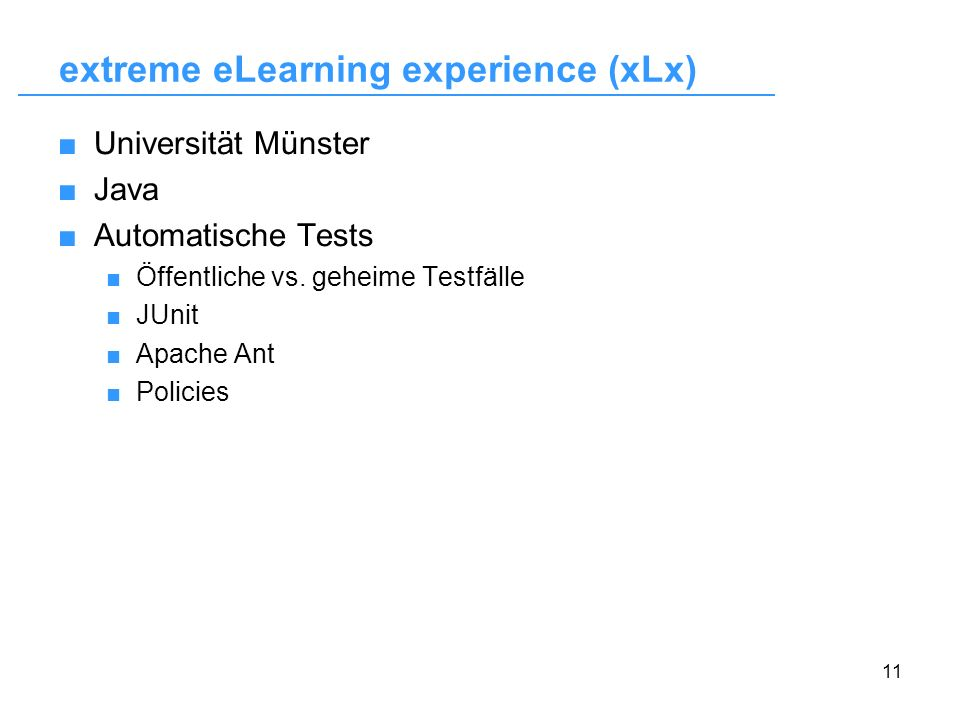 extreme eLearning experience (xLx)