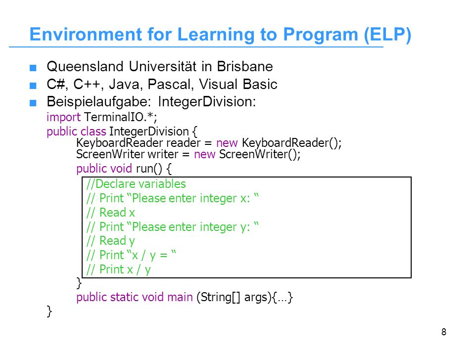 Environment for Learning to Program (ELP)