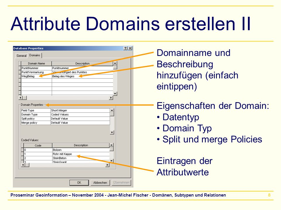 Attribute Domains erstellen II