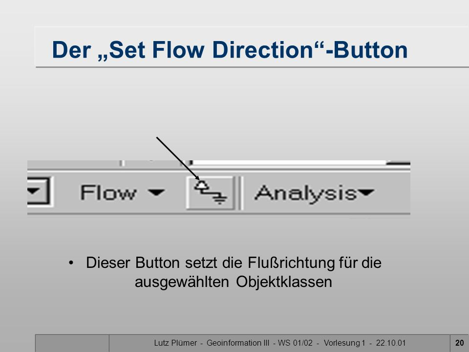 "Der ""Set Flow Direction -Button"