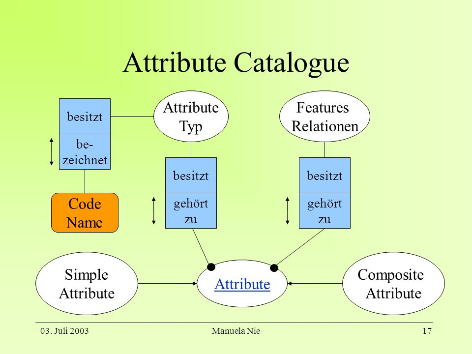 Attribute Catalogue Attribute Typ Features Relationen Code Name Simple