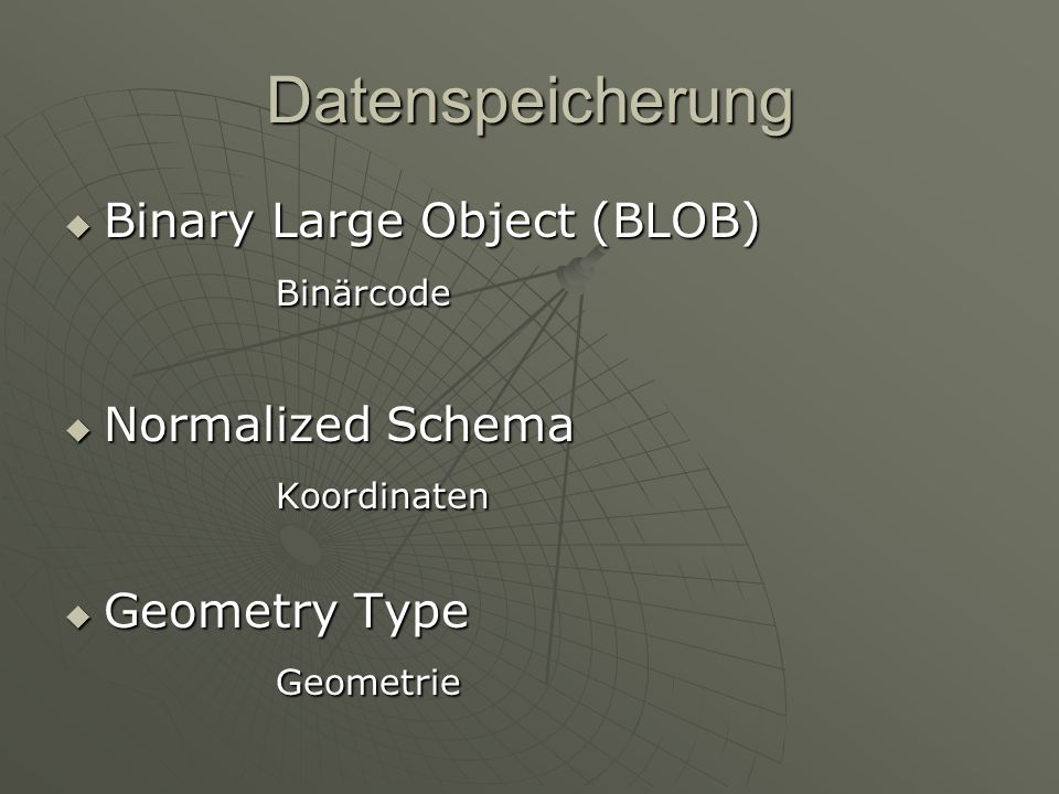 Datenspeicherung Binary Large Object (BLOB) Binärcode