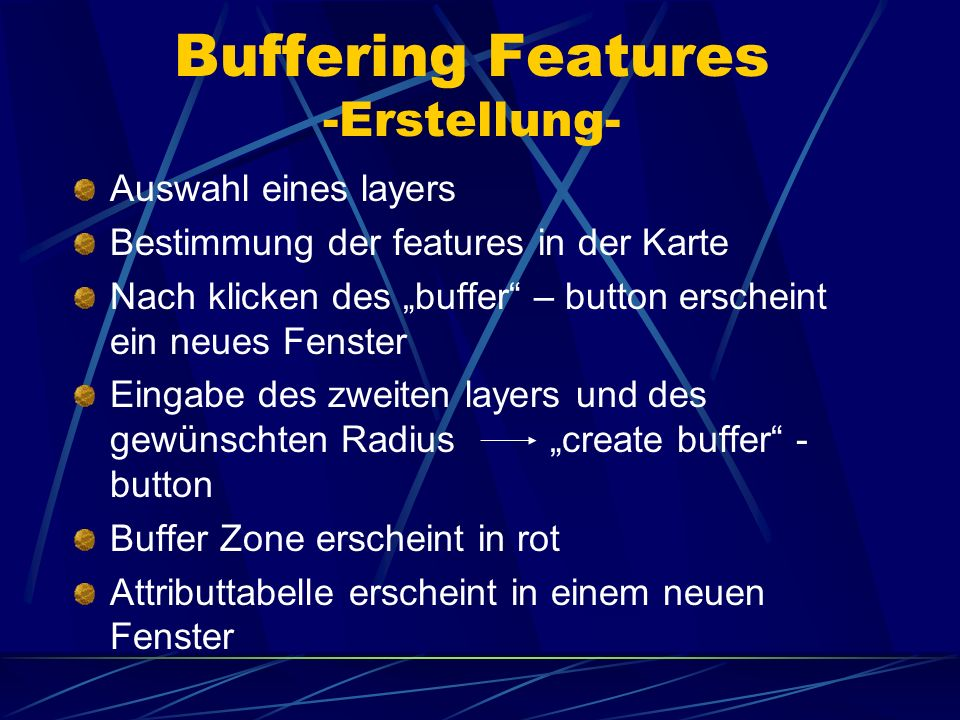 Buffering Features -Erstellung-