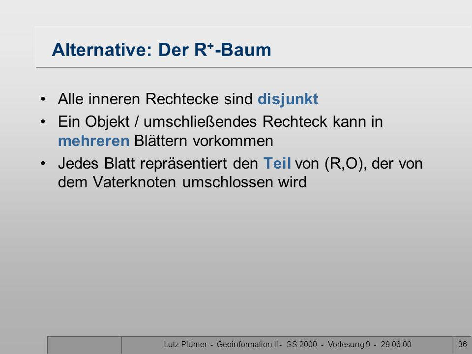Alternative: Der R+-Baum