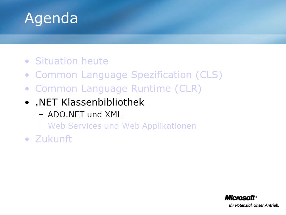 Agenda Situation heute Common Language Spezification (CLS)