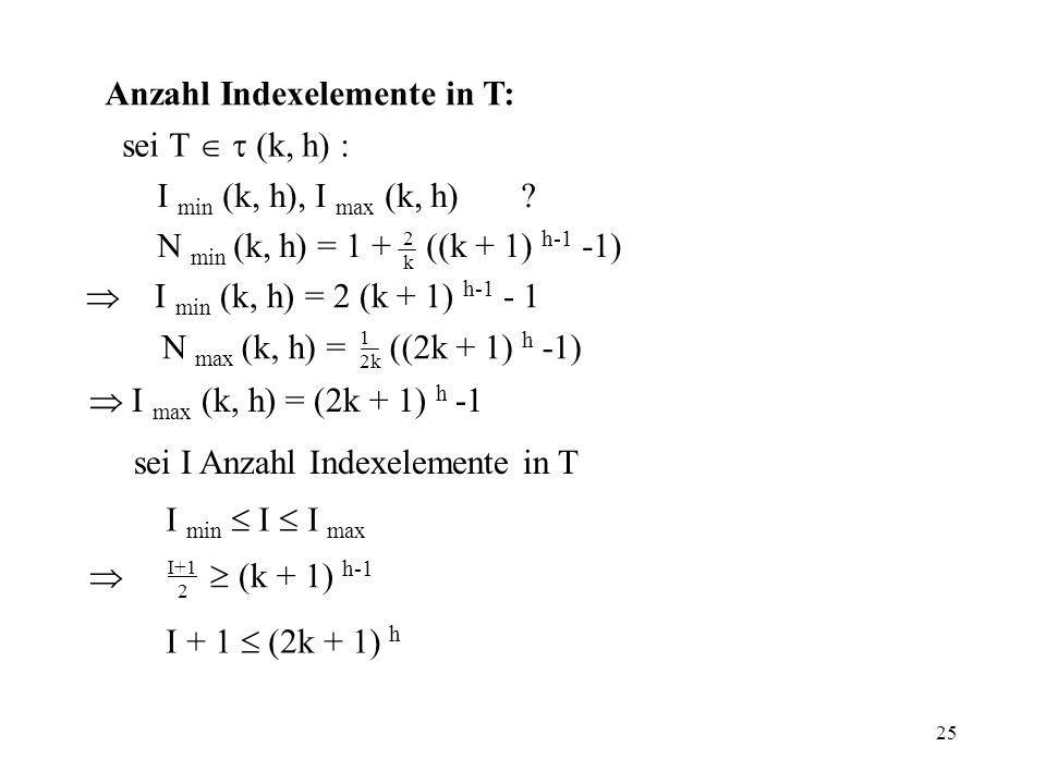 Anzahl Indexelemente in T: sei T   (k, h) :