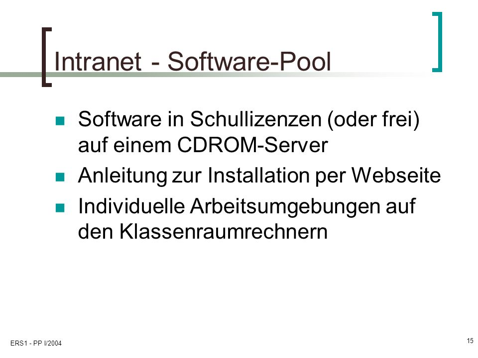 Intranet - Software-Pool
