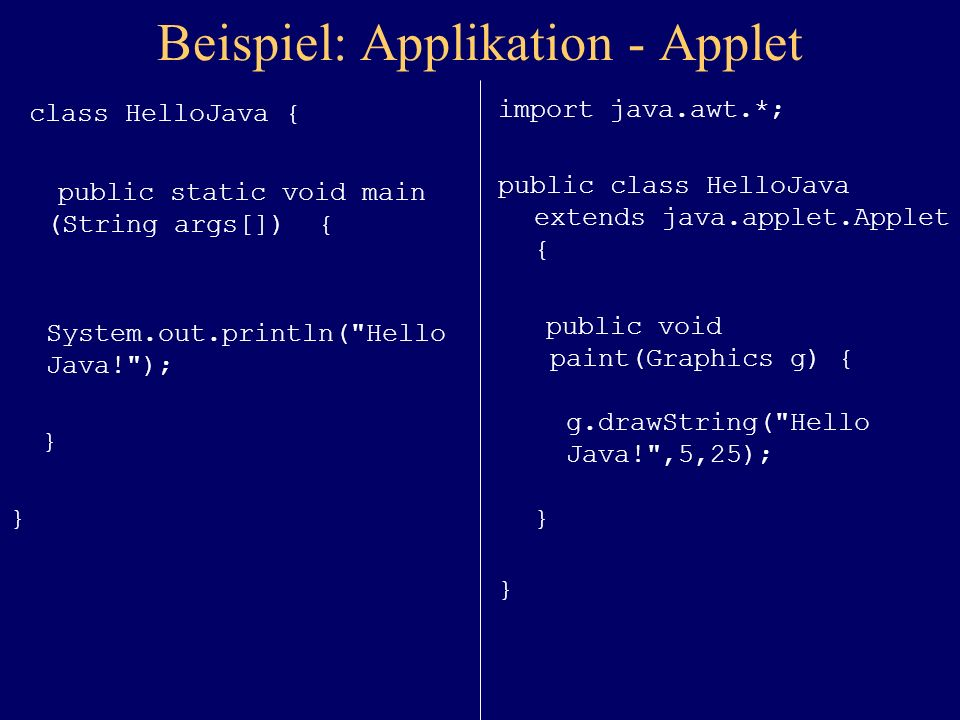 Beispiel: Applikation - Applet