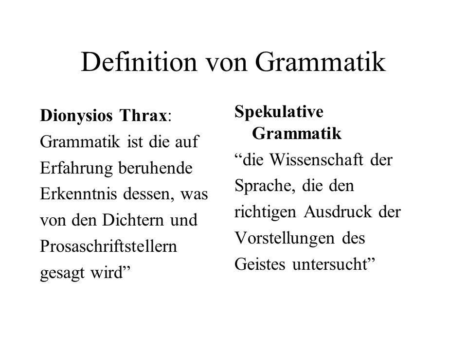 Definition von Grammatik