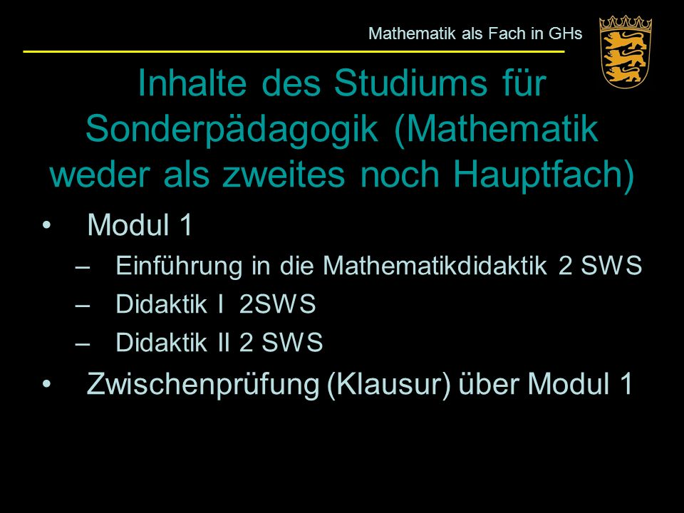 Mathematik als Fach in GHs