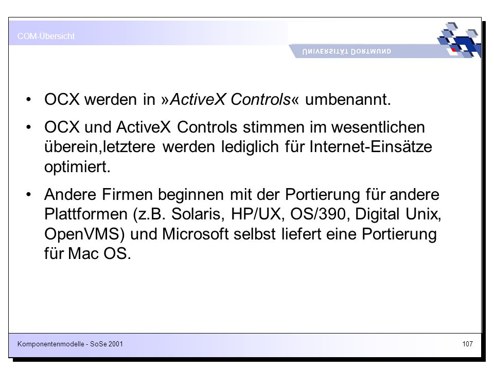 OCX werden in »ActiveX Controls« umbenannt.