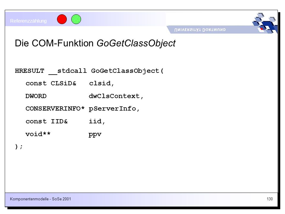 Die COM-Funktion GoGetClassObject