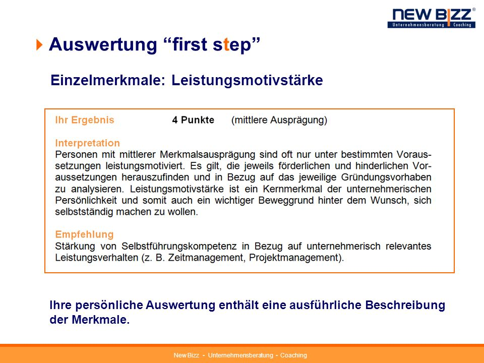 Auswertung first step