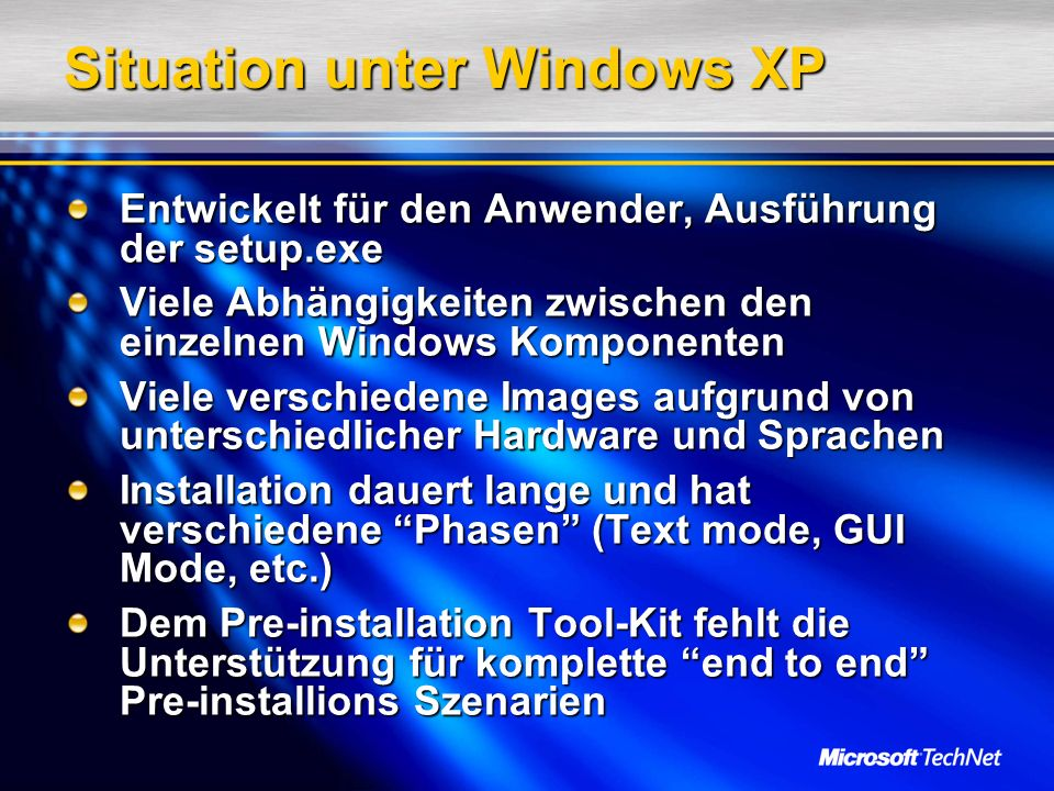 Situation unter Windows XP