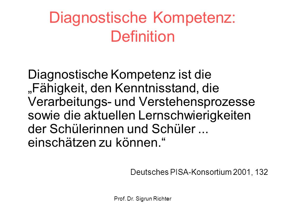 Diagnostische Kompetenz: Definition