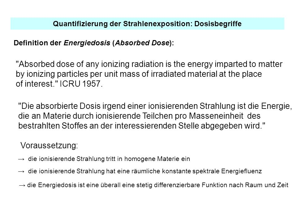Definition der Energiedosis (Absorbed Dose):