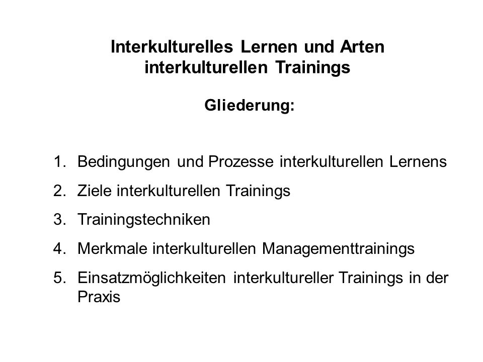 Interkulturelles Lernen und Arten interkulturellen Trainings