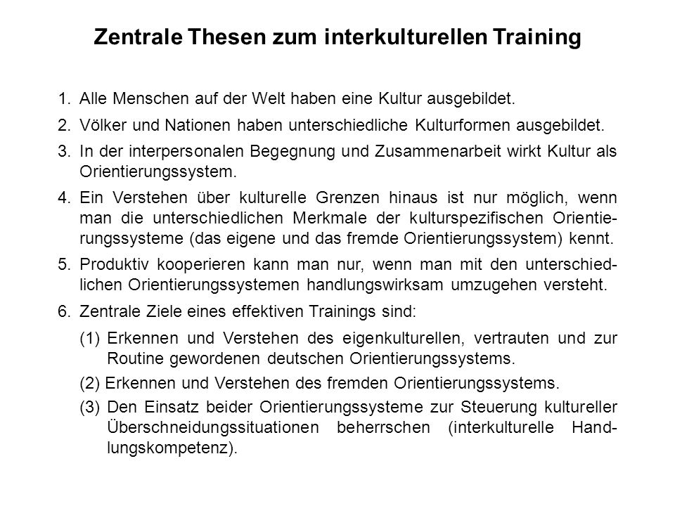 Zentrale Thesen zum interkulturellen Training