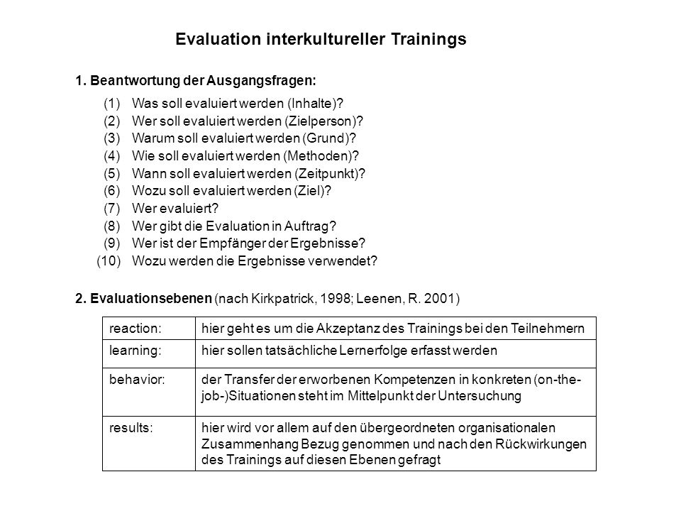 Evaluation interkultureller Trainings