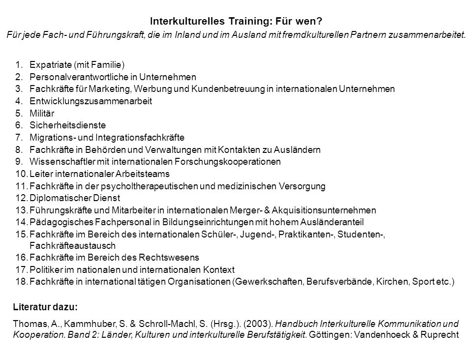 Interkulturelles Training: Für wen