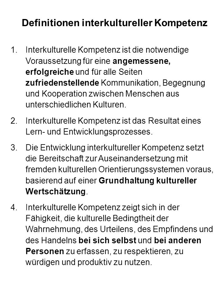 Definitionen interkultureller Kompetenz