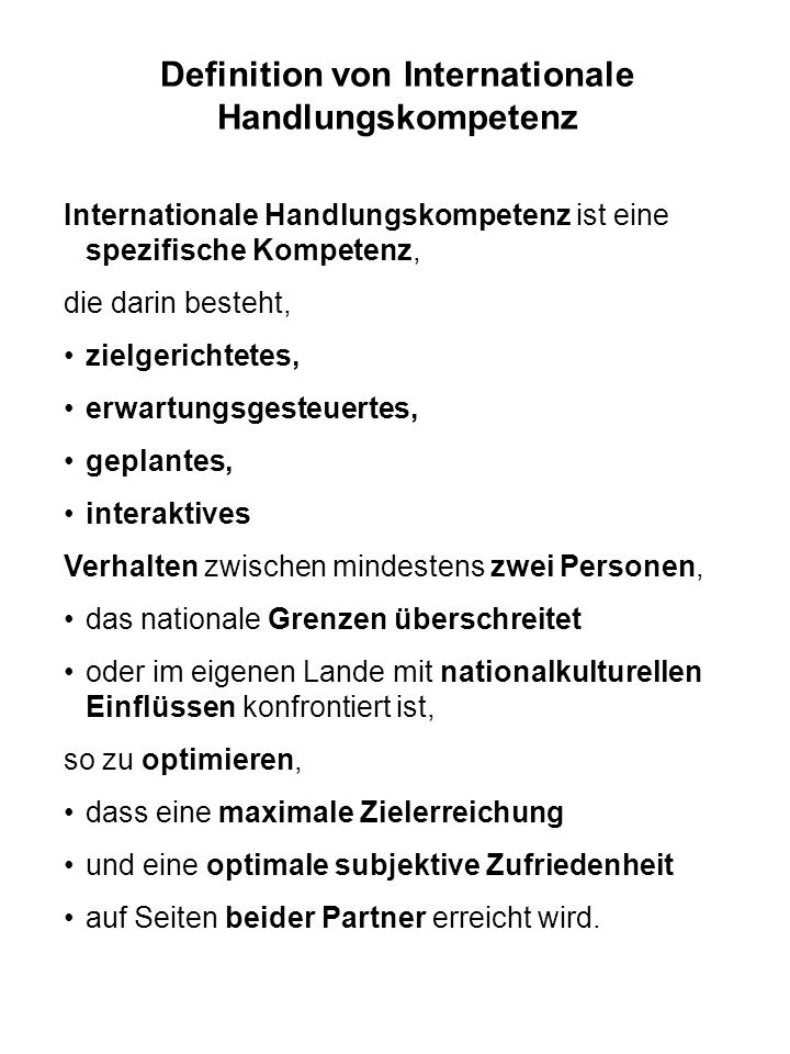 Definition von Internationale Handlungskompetenz