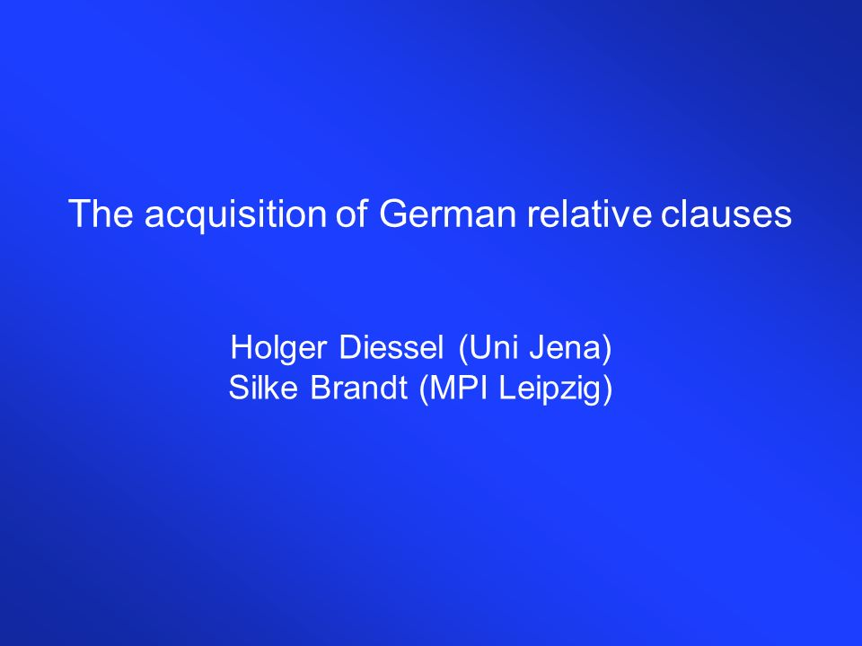 The acquisition of German relative clauses